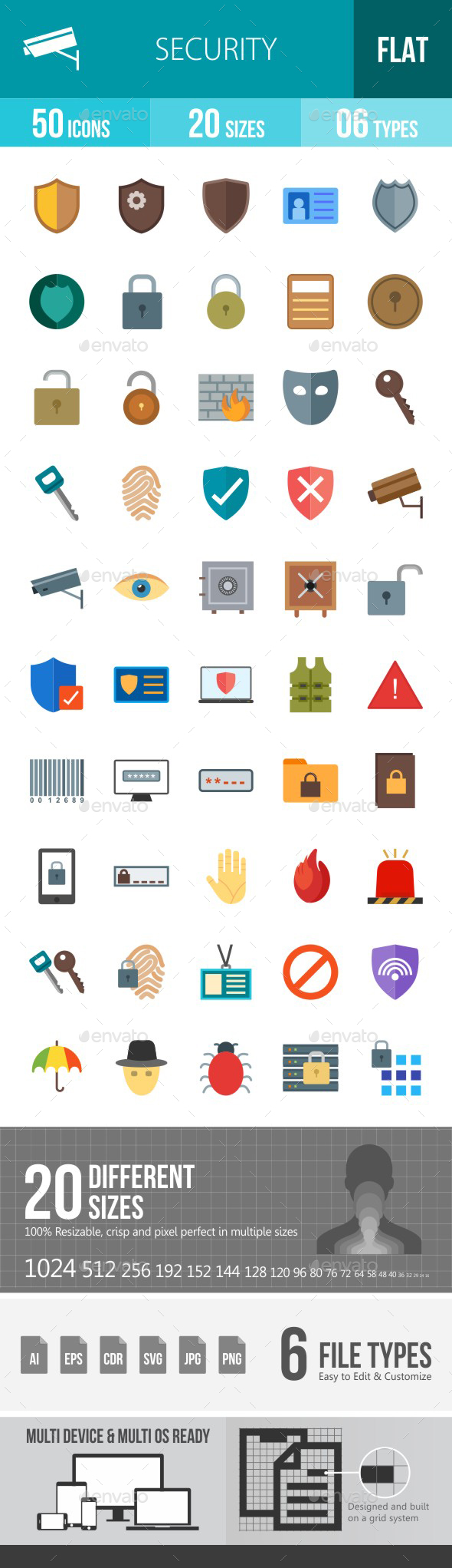 Security Flat Multicolor Icons - Icons