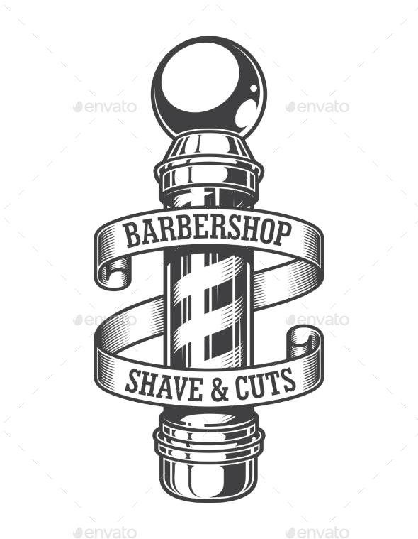 Vintage Monochrome Barbershop Emblem - Miscellaneous Vectors