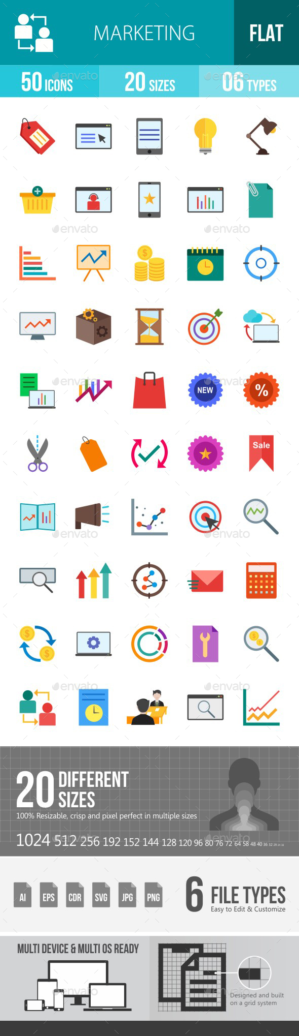 Marketing Flat Multicolor Icons - Icons