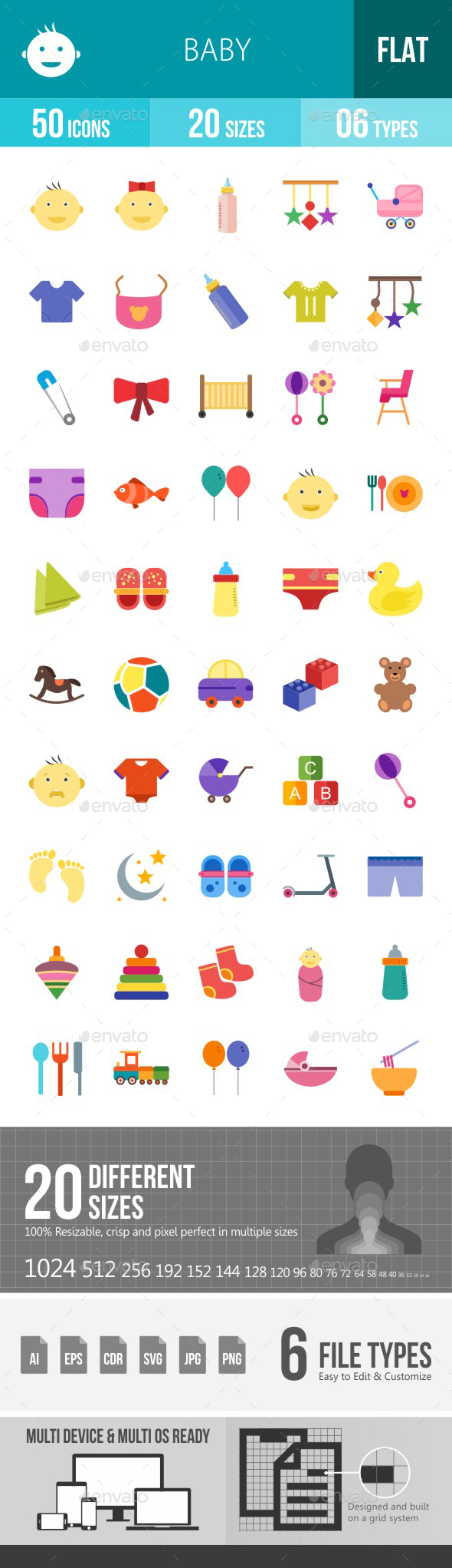 Baby Flat Multicolor Icons - Icons