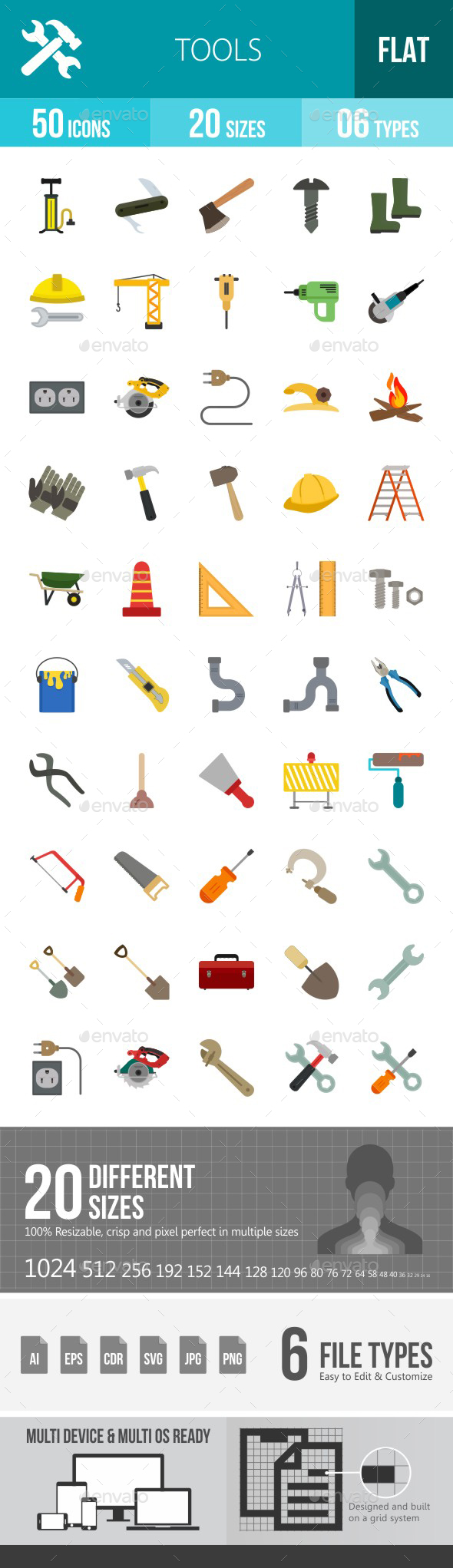 Tools Flat Multicolor Icons - Icons