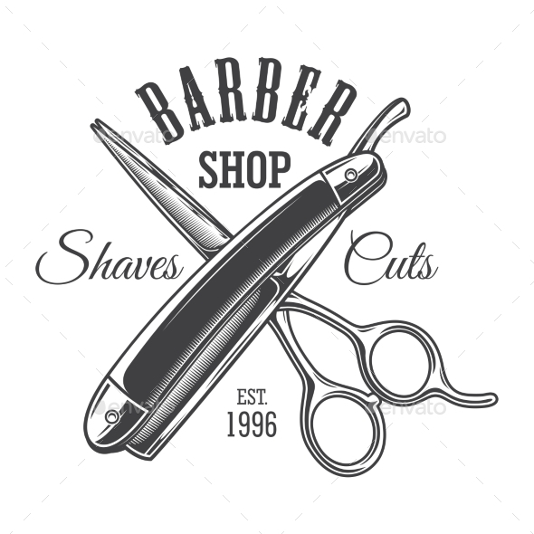 Vintage Monochrome Barbershop Logo - Miscellaneous Vectors
