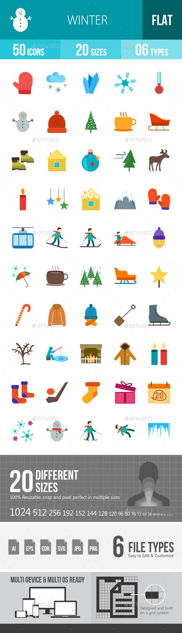 Winter Flat Multicolor Icons - Icons