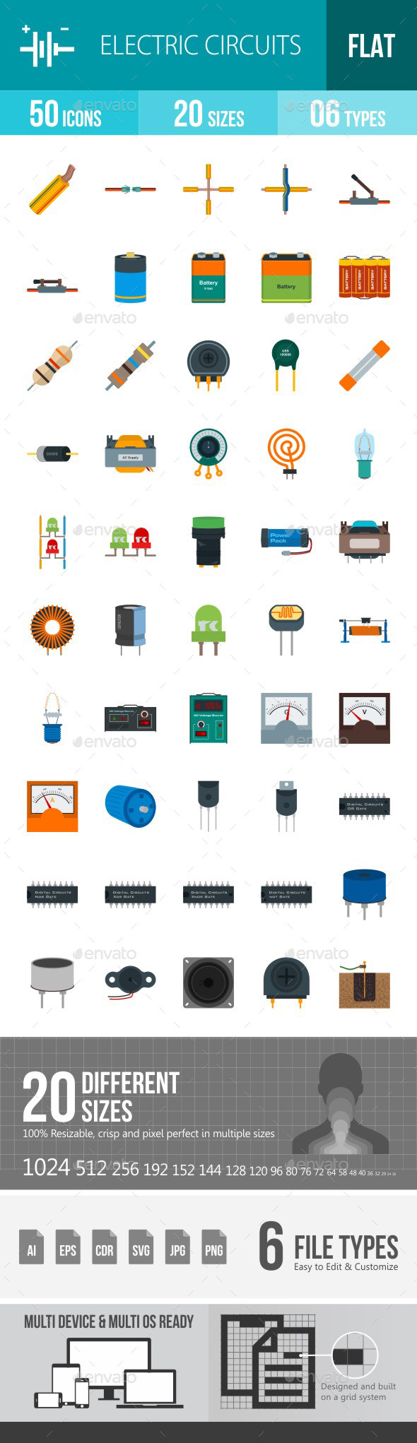 Electric Circuits Flat Multicolor Icons - Icons