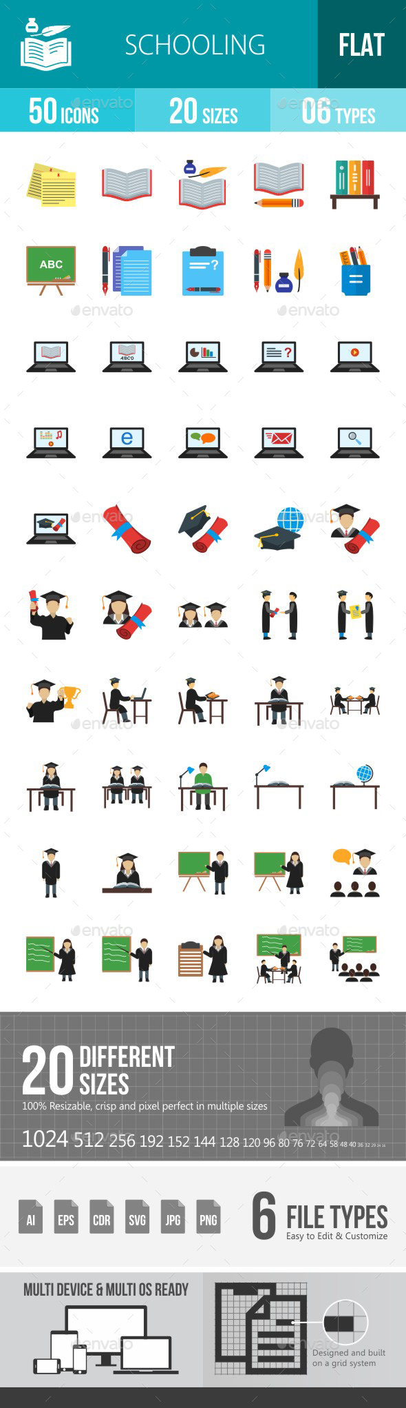 Schooling Flat Multicolor Icons - Icons