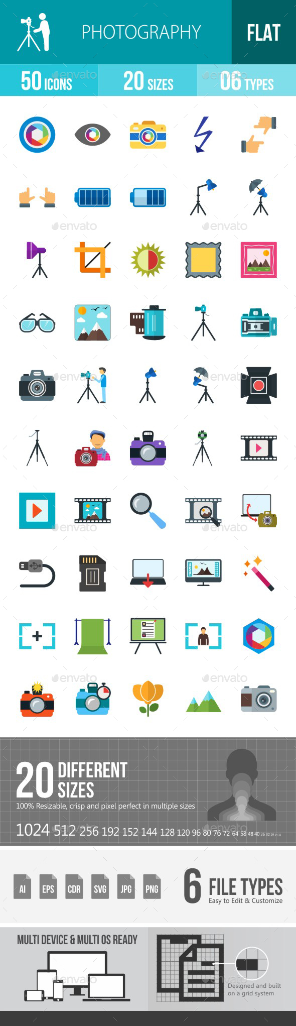 Photography Flat Multicolor Icons - Icons