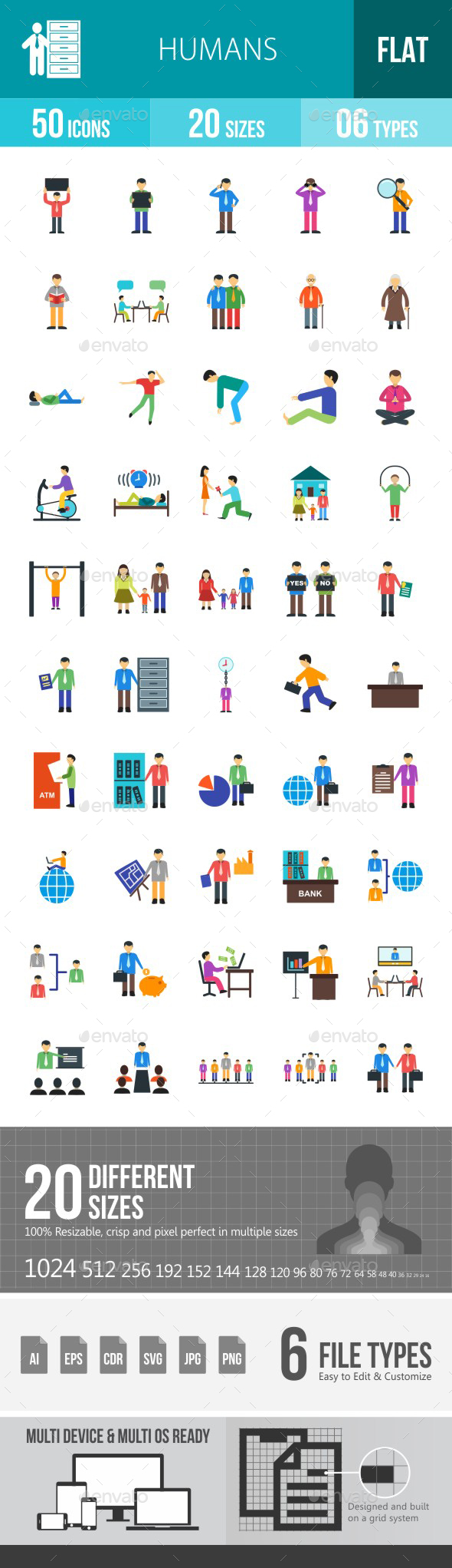 Humans Flat Multicolor Icons - Icons