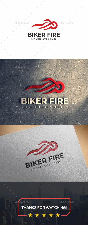 Biker Fire Logo - Symbols Logo Templates