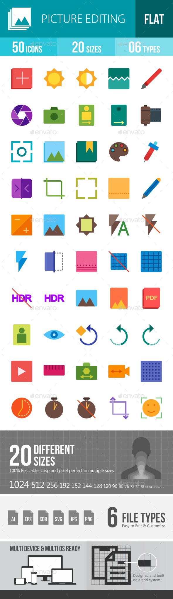 Picture Editing Flat Multicolor Icons - Icons