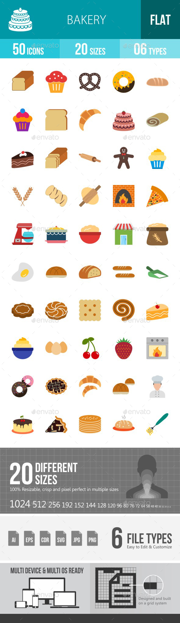 Bakery Flat Multicolor Icons - Icons