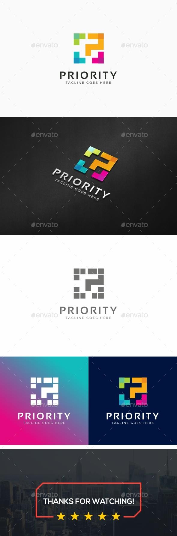 Priority - P Letter Logo