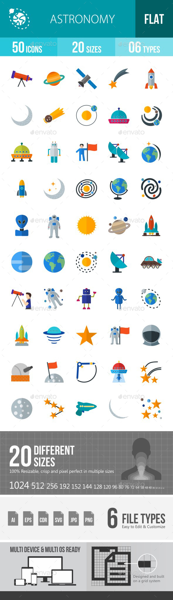 Astronomy Flat Multicolor Icons - Icons