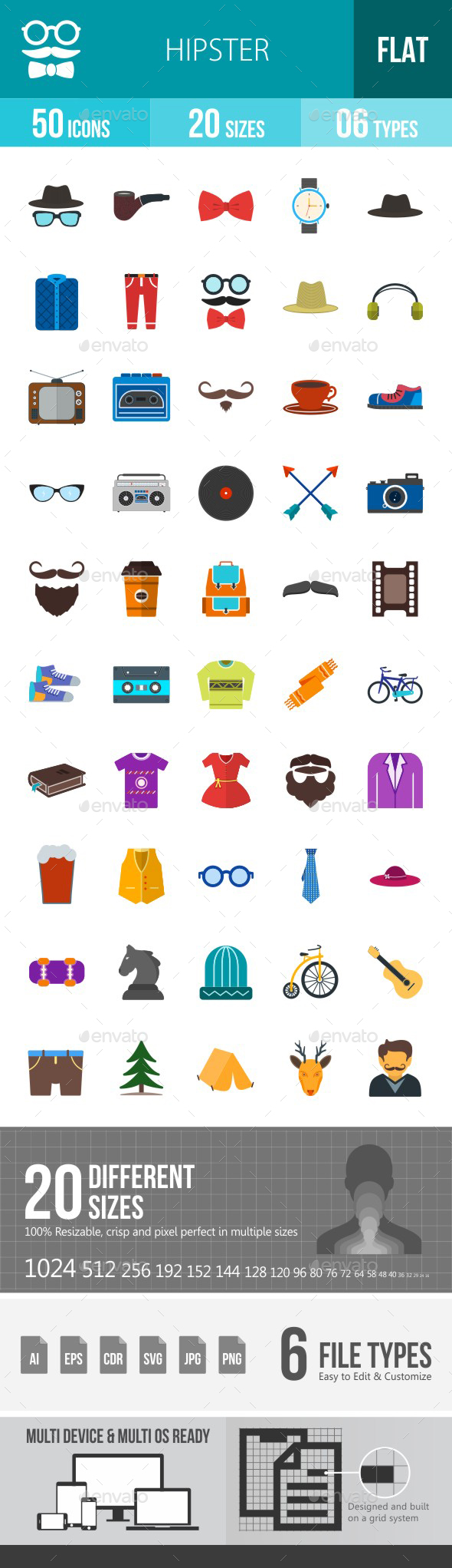 Hipster Flat Multicolor Icons - Icons