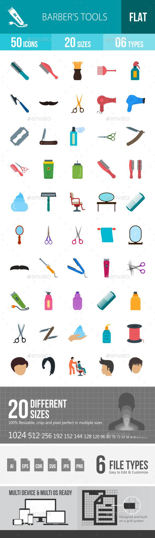 Barber's Tools Flat Multicolor Icons - Icons