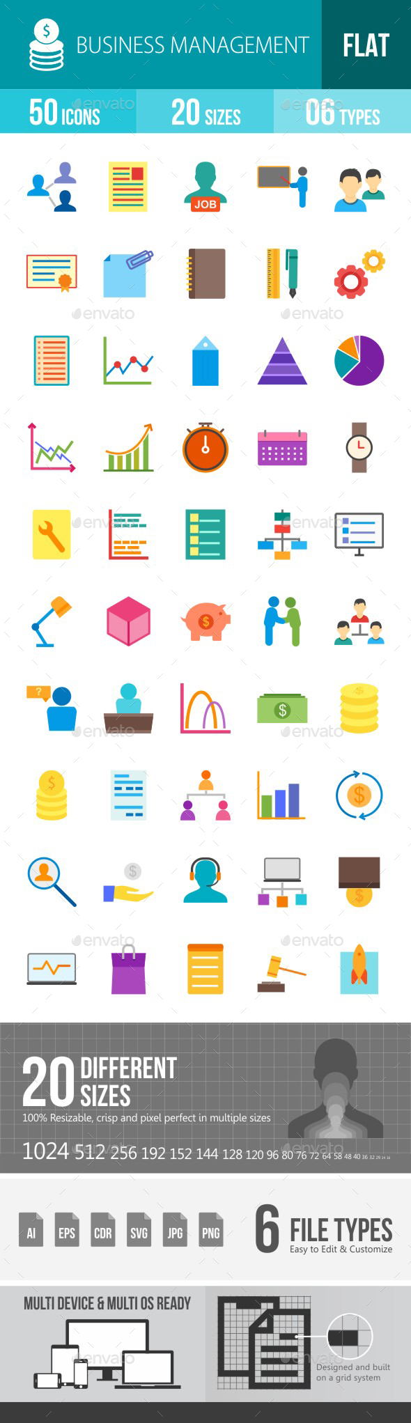 Business Management Flat Multicolor Icons - Icons