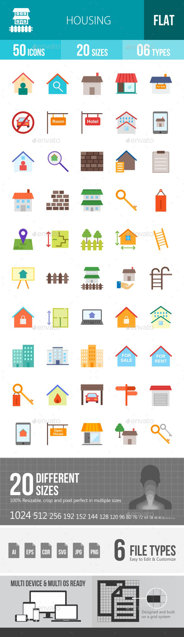 Housing Flat Multicolor Icons - Icons
