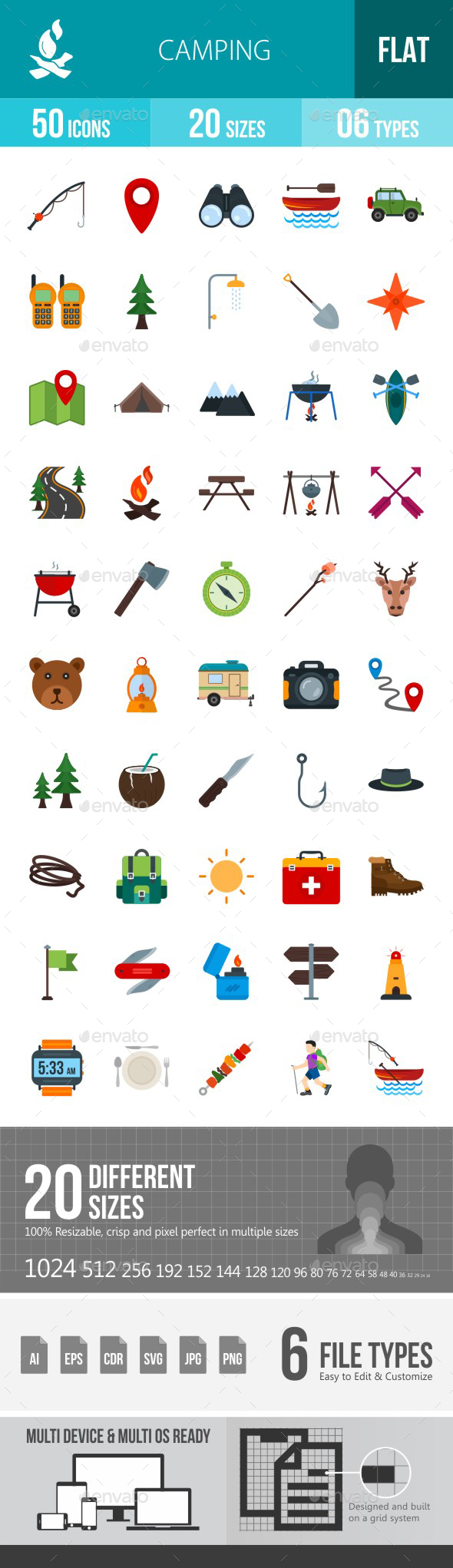 Camping Flat Multicolor Icons - Icons