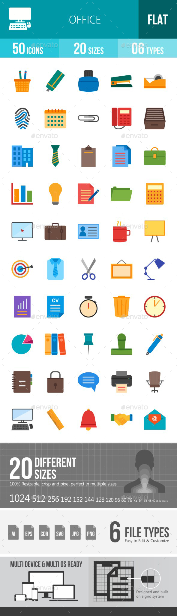 Office Flat Multicolor Icons - Icons