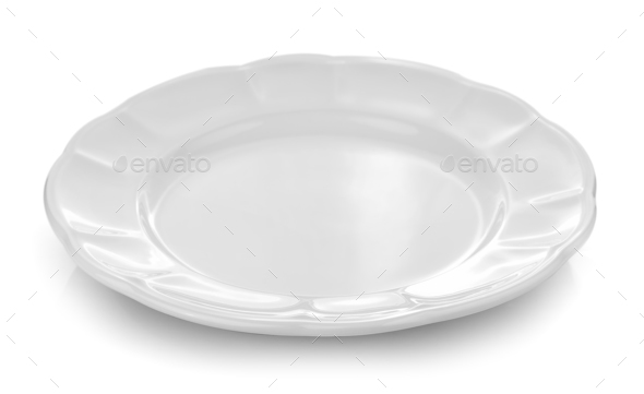 white plate white background - Stock Photo - Images