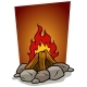 Cartoon Bonfire Campfire with Stones Vector Icon
