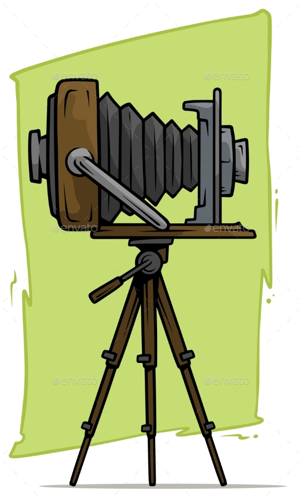 Cartoon Retro Vintage Camera on Tripod Vector Icon - Technology Conceptual