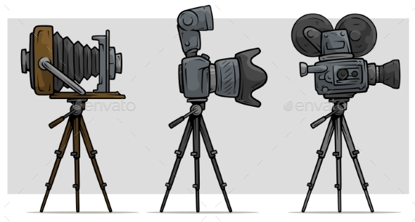 Cartoon Movie and Photo Camera on Tripod Set - Technology Conceptual