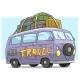 Cartoon Cute Violet Retro Van Bus with Luggage
