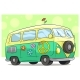 Cartoon Retro Van Bus with Peace Sign and Flower