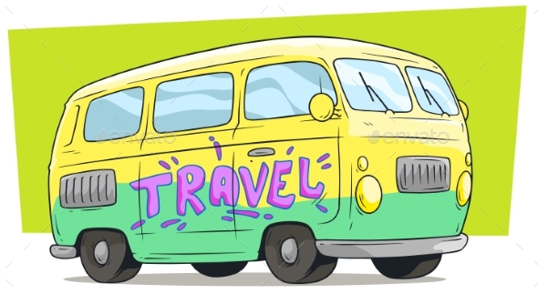 Cartoon Retro Van Bus with Text Label Travel - Man-made Objects Objects