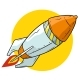 Cartoon Flying Orange Rocket Vector Icon