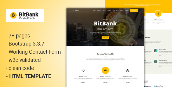 BitBank - Crypto currency Template - Technology Site Templates