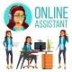 Online Assistant European Woman Vector. Headphone