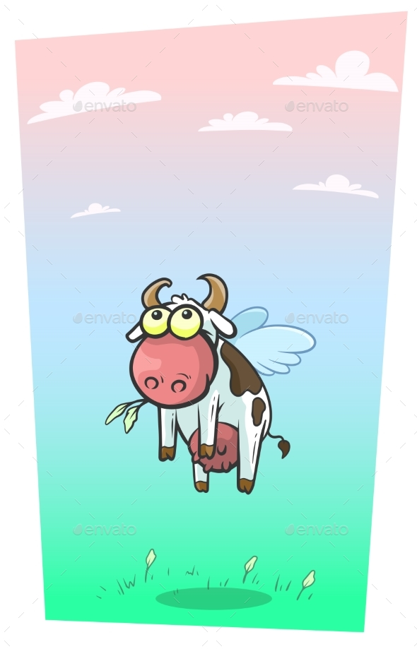 Cartoon Cool Flying Cow with Cute Wings Vector - Animals Characters