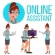Online Assistant Woman Vector. Consulting Client