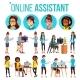 Online Assistant Woman Set Vector. Online Global - GraphicRiver Item for Sale