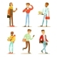 Flat Vector Set of Young Cheerful Guys. University