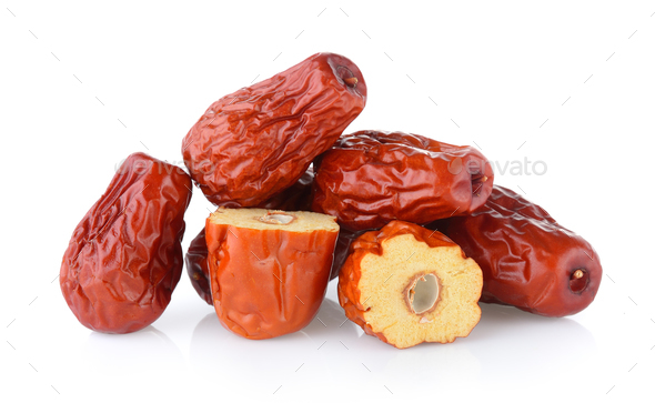 Dried red date or Chinese jujube on white background - Stock Photo - Images