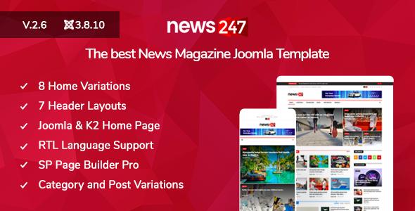 News247 - News/Magazine Newspaper Joomla Template - Blog / Magazine Joomla