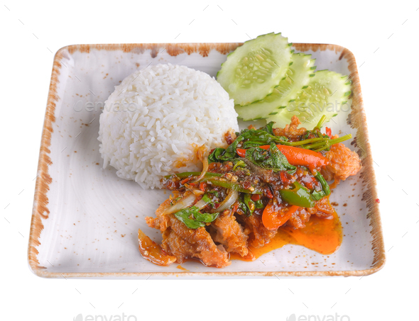 Fried rice with squid, salmon, shrimp in ceramic plate  isolated - Stock Photo - Images