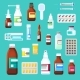 Set of Medicine Bottles with Pills