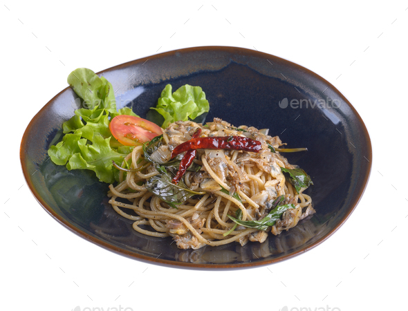 The spaghetti clams in plate on white backgroun - Stock Photo - Images