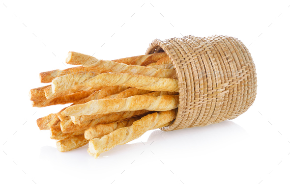 bread stick with sesame on white background - Stock Photo - Images
