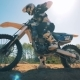 FMX Racer Starts Moving on His Motorcycle - VideoHive Item for Sale