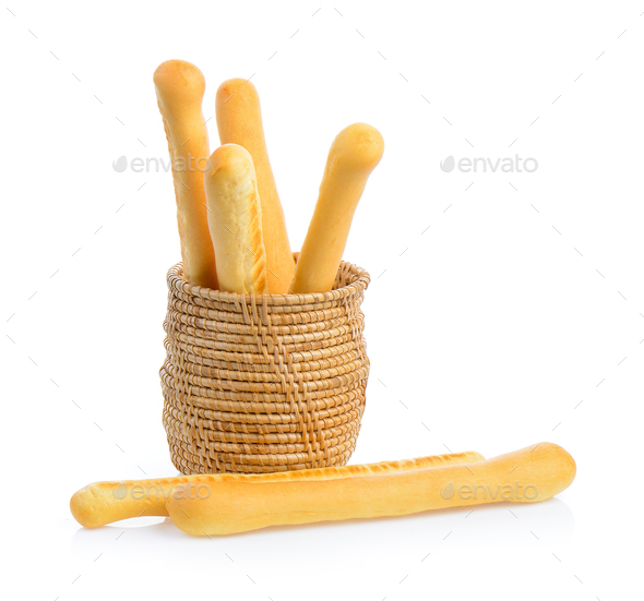 bread sticks in basket isolated on white background - Stock Photo - Images