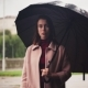Young Serious Woman Standing Under Umbrella in Rain, Sad Weather in City - VideoHive Item for Sale