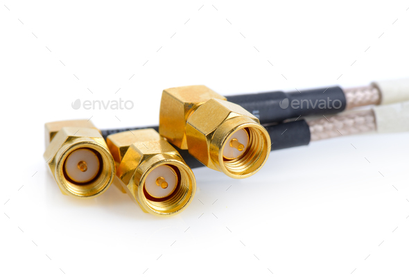 High-frequency SMA connectors isolated on white background. Gold - Stock Photo - Images