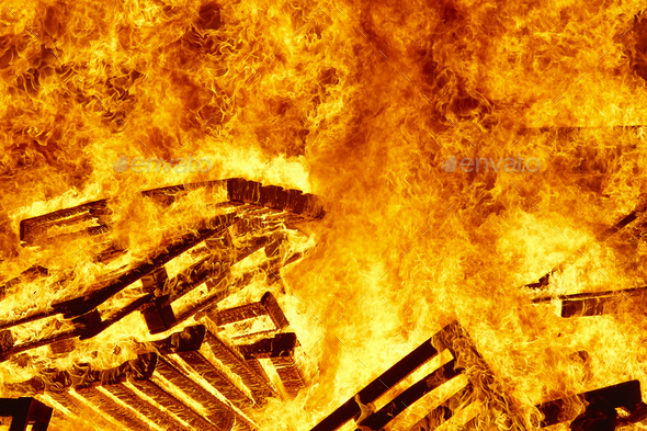 Burning fire. Bonfire. Fire fighting. Flame ignition. Warning. Danger - Stock Photo - Images