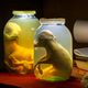 Animal embryo in glass jar with formalin. Veterinary preparation - PhotoDune Item for Sale
