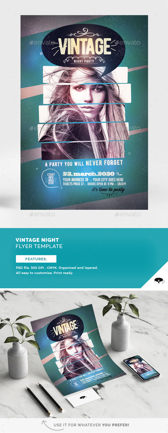 Vintage Night Flyer Template - Flyers Print Templates