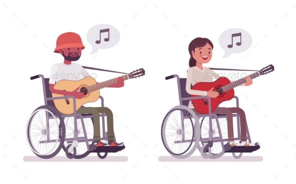 Male and Female Young Wheelchair User Playing - Health/Medicine Conceptual